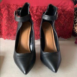 Black stiletto heel with ankle strap